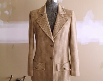Vintage 70s Plaid Knit Professor Blazer