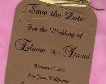 Mason Jar Save the Date Invitation ,Kraft envelopes are included This Mason Jar Save the Date