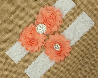 Wedding Garter, Peach Wedding Garter, Peach Bridal Garter, Bridal Garter Set, Wedding Garter Belt, Lace Garter, Lace Wedding Garter SCWS-R01