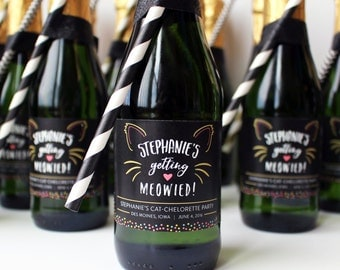 Mini Getting Meowied Wine Label, Catchelorette Mini Champagne Label, Cat Bachelorette, Cat Themed Party, Engagement Gift for the Cat Lover