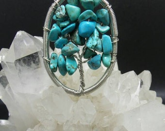 Turquoise Tree Of Life Wire Wrapped Pendant.
