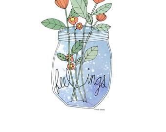 Bottled Up Feelings Flowers Illustration Giclee Print