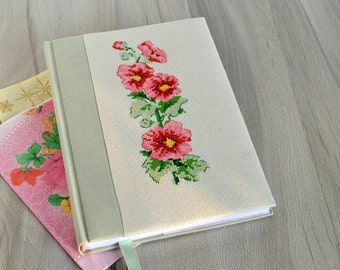 A5 Embroidery floral journal Embroidered notebook Emroidery cover Cross stitch notebook Fabric covered journal Floral personal diary book