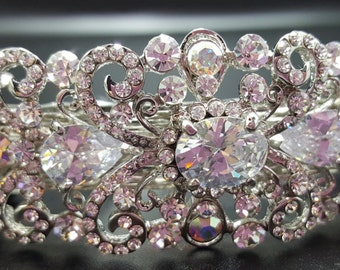 New Bridal Silver &  Crystal Cluster 3 1/2'' Hair Barrette With Lever Back Closure