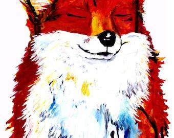 A4 Happy Fox Print