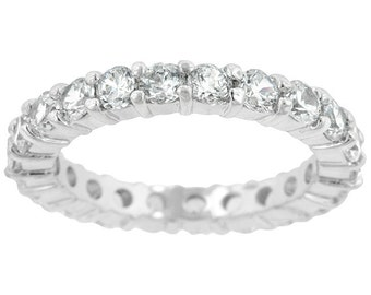 The Elizabeth Eternity Band | Silver | Twenty-one stones embellish this wonderful sterling silver eternity band. Stack them or wear solo.