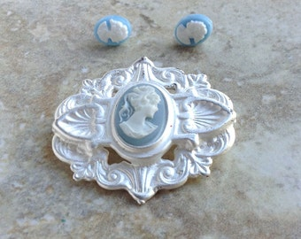 Vintage Blue Cameo Brooch in a Silver Tone Setting with Post Earrings