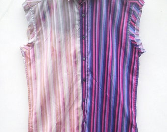 Pink Striped Bleached Sleeveless Studded Shirt