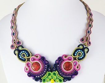 Soutache necklace with jaspers