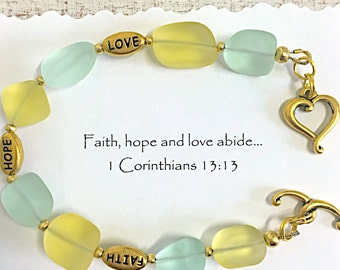 Inspirational gift, Christian gift, 1 Corinthians 13, faith hope love, bible verse bracelet, Adult baptism gift, confirmation gift.