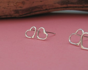 Teeny tiny silver heart stud earrings