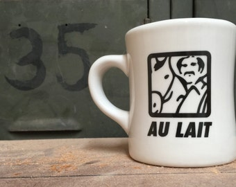 AU LAIT Ceramic Coffee Mug- Sturdy Vintage Diner Mug- Gifts for Coffee Lovers- Handmade
