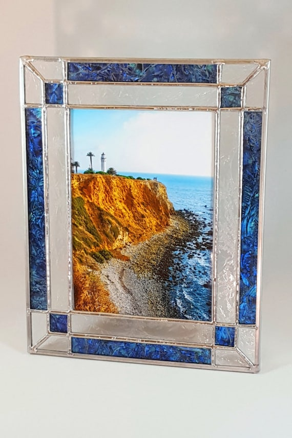 blue green stained glass picture frame