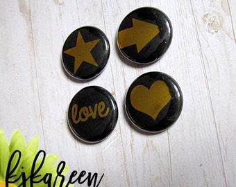 "1 ""- black gold metal badge"