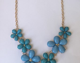 Blue Flowers Bib Necklace