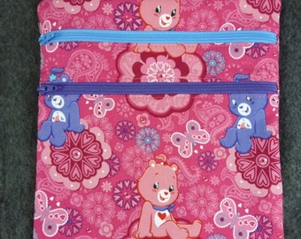 "Handmade ""Zip and Go"" bag in Care Bears Fabric"