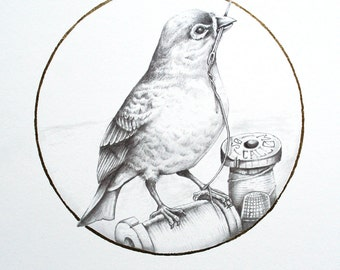 Finch Art Print, Hand Embellished Limited Edition, 8.5 x 11 Bird Art Print