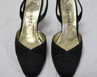 80s black Chanel shoes 9.5 / 40FR.