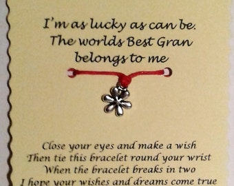 Gran gift, Cord Wish Bracelet, Gran bracelet, Mothers Day Gift, Friendship Bracelet, Keepsake Card, Gran Jewellery, Gift for Gran