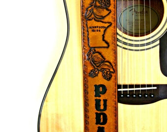 Custom Designed Hand Tooled Leather Guitar Strap - Antique Tan, Custom Guitar Strap, Personalized Guitar Strap, Handmade Guitar Strap