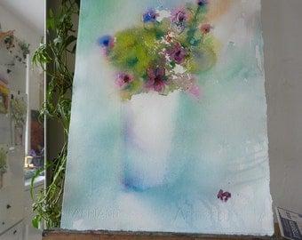 Original Watercolour: Bouquet of Sunday, forget-me-nots, pink