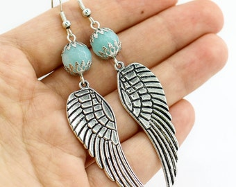 Angel wing earrings Bohemian jewelry Statement earrings Boho jewelry Birthday gift for girlfriend gift women gift Anniversary gift for her