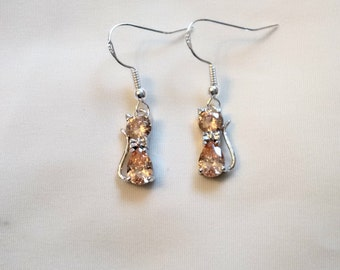 Cat Earrings - Crystal Cat Earrings - Champagne Crystal Cat Earrings -