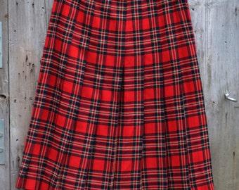 Talbots Red Plaid Pleated Wool Skirt