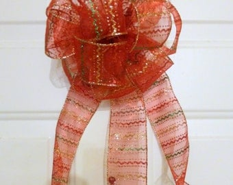 Red mesh Christmas bow - weatherproof wreath bow - large red door bow - staircase garland bow - tree topper bow