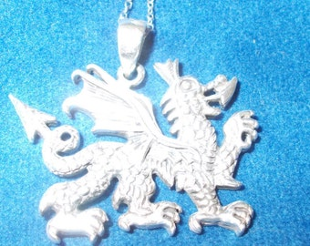Solid sterling silver Dragon necklace