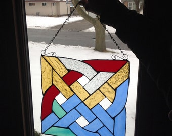 Celtic Gaelic  Knot named Earth and Sky in Blue, Golden, Red, Clear Stain Glass
