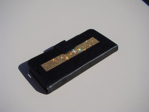 """Galaxy S6  """" Edge """" Gold Topaz  Rhinestone Crystals on Black Wallet Case. Velvet/Silk Pouch bag Included, Genuine Rangsee Crystal Cases."""