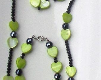 Black Crystal Shell Heart Necklace/Earrings/Bracelet