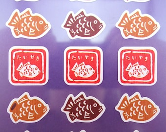 Beautiful Japanese Taiyaki chiyogami paper stickers - koi fish cake - sweets & treats - red bean pastry snack - traditional Japan yuzen