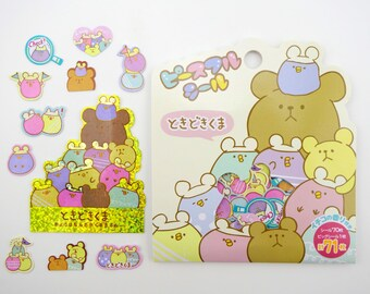 Kawaii Japanese sticker flakes - teddy bear stickers - kawaii stickers - baby chick stickers - Japanese stickers - round mochi pastel colors