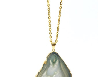Agate Slice Necklace, Raw Stone Necklace, Boho Necklace, Green Gemstone, Green Stone, Geode Slice on Gold Chain (Agate Slice Pendant)