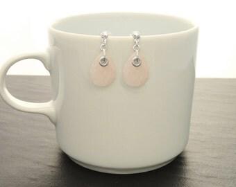 Rose Quartz Earrings - Sterling Silver Earrings, Rose Earrings, Tearsdrop, Gemstone Earrings, Dainty Earrings, Birthstone Jewelry, Quartz .