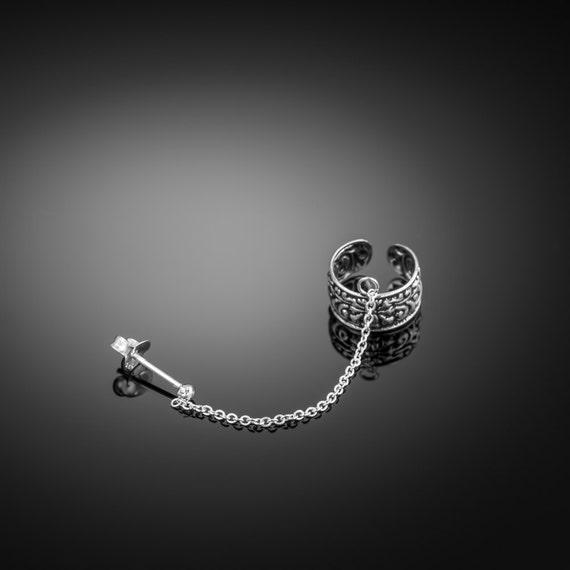 Silver Ear Cuff earring chain. ear cuffs earring. ear cuff sterling silver. earcuff. boho. ear cuff chain. chain ear cuff. ear cuff silver.