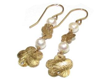 Bridal 14K Goldfilled Earrings, Bridal Jewelry, White pearl Earrings, flower earrings, handmade
