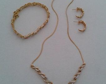 Vermeil Necklace, Bracelet, Earring Set; Gold Over Sterling Necklace, Bracelet, Earring Set; Sterling Jewelry Set