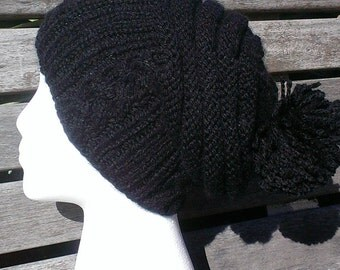 Black hat / Winter black hat / Black slouchy hat / Winter black beanie / Black pom pom hat / Women slouchy hat