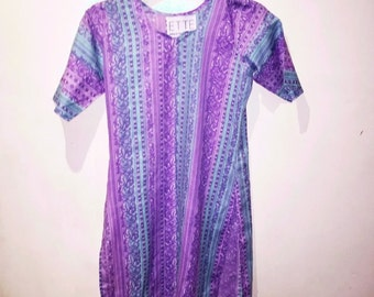 Boho Purple and Green Paisley Hippy Mini Dress with Side Splits