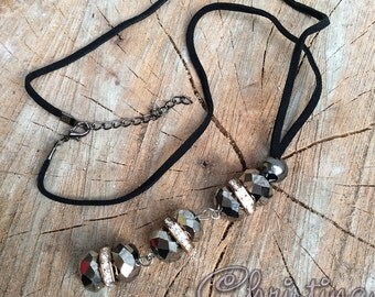 Black Drop Dangle Necklace Free Shipping!