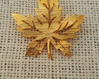 Gold Plated Maple Leaf Brooch