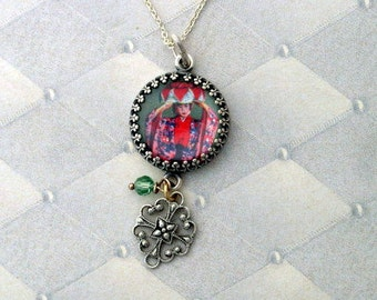 Vintage Postage Stamp Jewelry: Sweet Far East Pendant Necklace