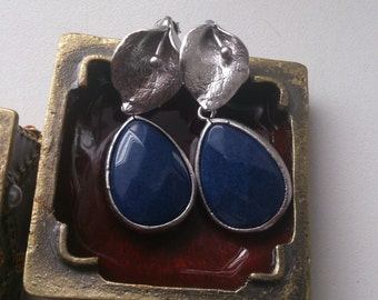 Silver Blossom Earrings with navy blue stones