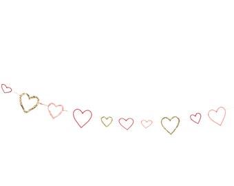 Love heart garland  - Valentine's Day, Wedding