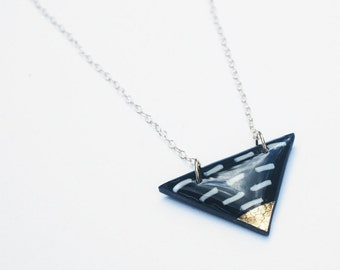 Black Triangle necklace with whimsical dash pattern, gold dipped triangle Pendant, Delicate Tarnish Resistant necklace, Modern Gold Jewelry