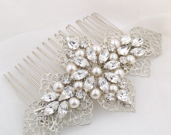 Wedding headpiece - bridal hair comb - wedding hair accessory - Swarovski crystal - bridal headpiece - wedding hair comb - Ursula comb