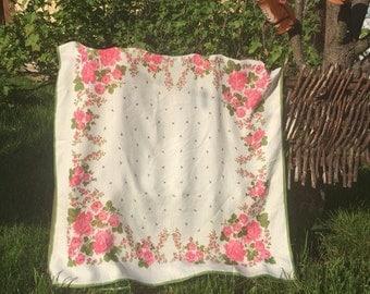 silk scarf. russian shawl, babushka scarf. russian shawl. Vintage silk Shawl.Russian Scarf .floral scarf. Russian Floral Shawl